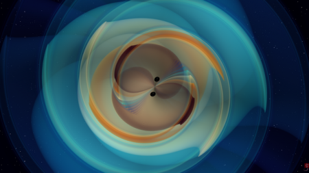 A still image from a numerical simulation of two black holes that inspiral and merge