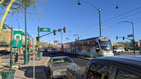 A light rail train traveled through downtown Mesa