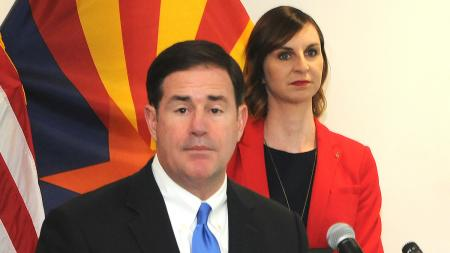 Arizona Gov. Doug Ducey and Superintendent Kathy Hoffman