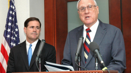 Arizona Gov. Doug Ducey (left) and Sen. Jon Kyl