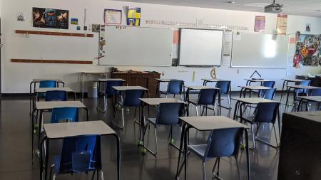 an empty classroom at a Phoenix high school