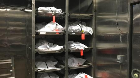 Remains of those still unidentified awaiting identity in the Pima County Medical Examiner's Office