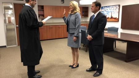 Arizona Court of Appeals Judge Jim Beene administered the oath of office to Eileen Klein