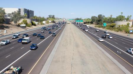 The below-grade Papago Freeway in central Phoenix, built on what used to be Moreland and Culver streets.