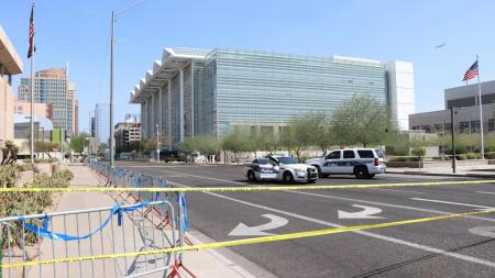 The scene at the Sandra Day O'Connor U.S. Courthouse after a shooting