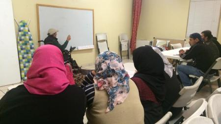 Syrian refugees learn English