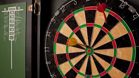 Dart board in a bar