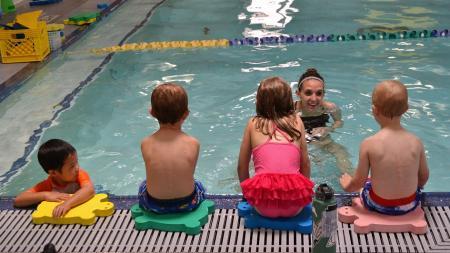 kids at a swim class