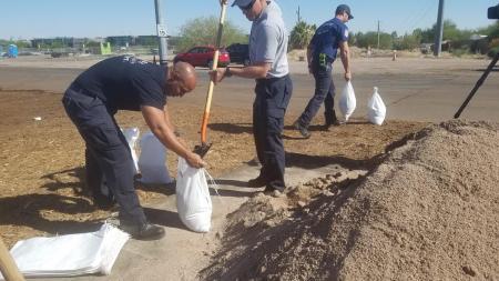 filling monsoon sandbags