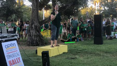 Becca Clarkson reopen schools rally