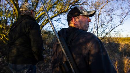 Outfitter Jim Schaafsma (from left) and hunter Brandon Barnwell