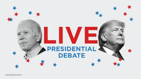 Trump and Biden debate graphic
