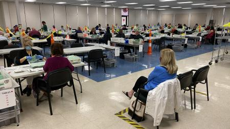 Maricopa County Elections Department opening envelopes