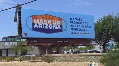 billboard in north Phoenix for the Mask Up Arizona campaign