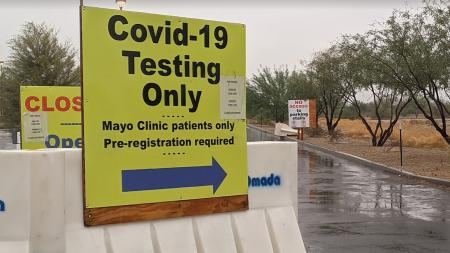 A sign for COVID-19 testing