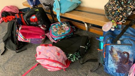 Kids backpacks at an elementary school