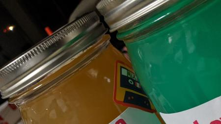Mixed drinks in jars